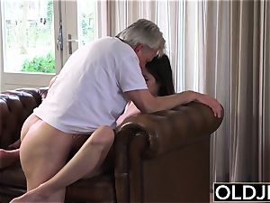 senior and youthful porno - nanny gash boned by elder man