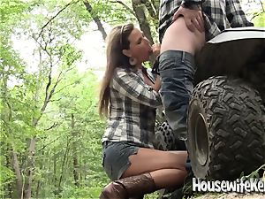 scorching towheaded wifey bj's stranger for help with quad