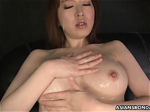 asian beautiful undergarments during the greasy masturbation