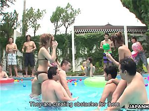 chinese swimsuit sluts toying by the pool
