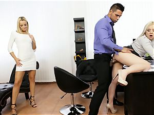 Buff guy Angelo slides his immense man-meat into Amy pinkish and Ana ray