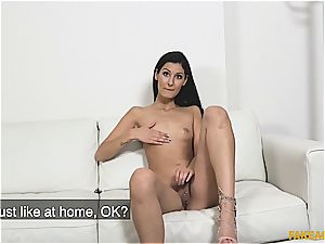 Coco kiss takes a ample penis for a casting