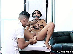 Latina gf strapped up and fucked stiff