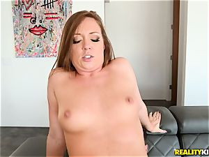 cum gulping spear dickblower Maddy OReilly sits her vagina on a huge fuckpole
