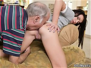 elder granddad spunk shot damsel creampie riding the elder fuckpole!