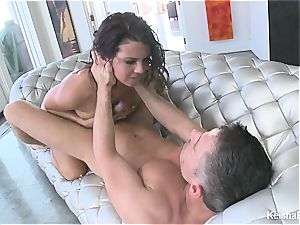 lovely black-haired Keisha takes Mick's dick