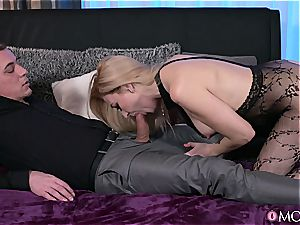 Bodystocking cougar takes packed with manstick