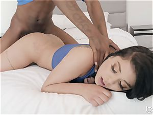 tucking down that black spunk-pump down Gina Valentina