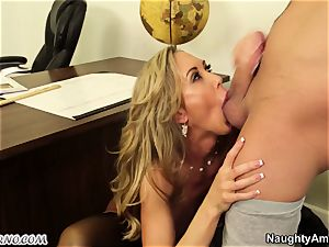 youthful guy tear up his big-titted adult tutor during a lesson