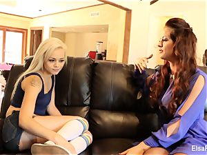 Elsa receives a lesson from her buxom tutor Holly