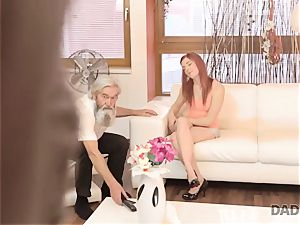 DADDY4K. dude and his elderly parent team up to penalize whorish gf