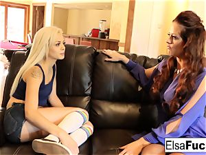 Elsa receives a harsh lesson from her big-titted instructor Holly