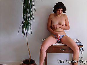 wooly college female milks her dripping vulva
