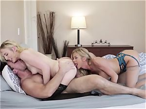 Adult masculine bangs his new wife Alexis Fawx and her daughter