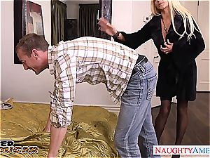 Nikita Von James salutes his member in her cunny