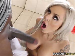 big-boobed mummy Nina Elle sploogs On Mandingo's big black cock