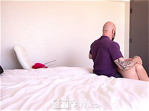SPYFAM Step dad blows phat stream into drenched twat