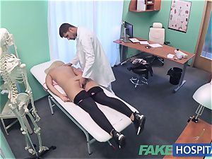 FakeHospital big-boobed Russian stunner drinks cumload