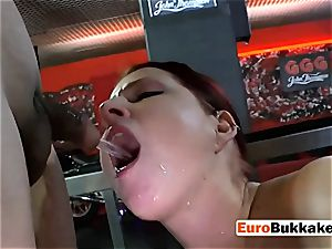 round red-haired in undergarments gets humped and urinated on
