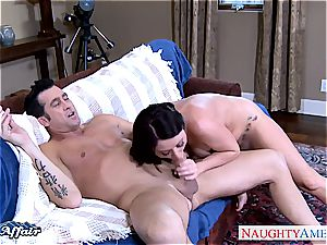 busty dark-haired Sophie Dee gets facialized