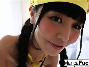 Marica dresses up and thumbs her vulva
