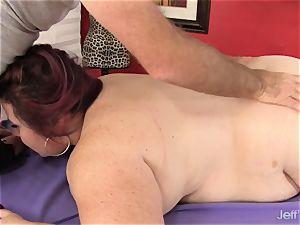 immense tittied massive bum gal Lynn gets a fuckfest massage