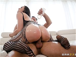 lubing up the coochie of Chanel Preston and stretching her out