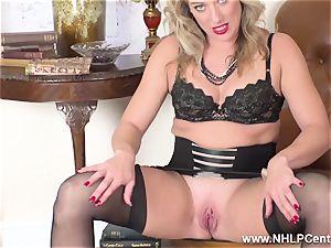 blond finger pummels moist cooch in girdle vintage nylons