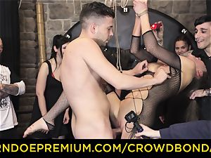 CROWD restrain bondage - extraordinary bondage & discipline pummel wheel with Tina Kay