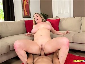 Chunky mummy Maggie Green munches some hard meat