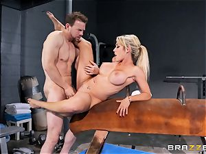 Capri Cavanni ends her workout with some ample meatpipe