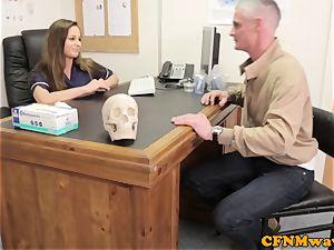female domination Cayenne Klien makes patient cum