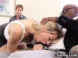 stunning towheaded girlfriend plows big black cock For cuckold bf