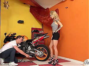 blond stepmom get's insatiable with her stepson in the garage