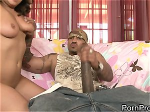 nasty Charley pursue gargles on this freaky sized shaft