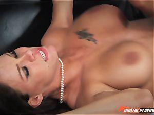 Michael Vegas blows a load on super-fucking-hot dark-haired Peta Jensen