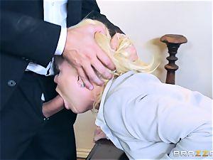 horny honey Nikki Delano ball-gagged by hefty cock