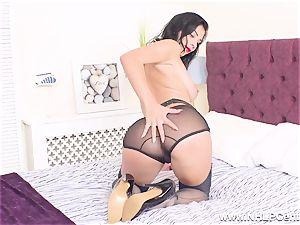 chesty honey takes off off jerks in pumps retro nylons