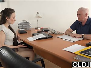 woman ravaged by senior guy Office gargle oral pleasure