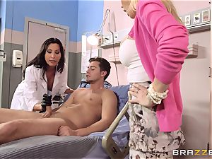 Lezley Zen and Devon take care of a stroking problem