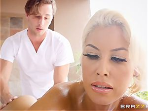 insatiable chesty Bridgette B lubricated up and pulverized in her tight labia