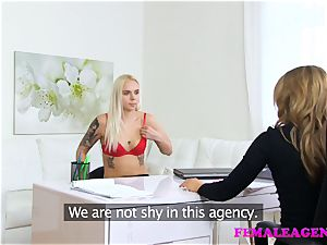 FemaleAgent inked platinum-blonde makes a sexual deal