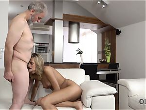 OLD4K. sweetie takes part in spunky fucky-fucky with wonderful senior daddy