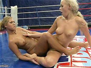Linda Ray riding on her nude killer opponent