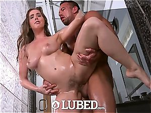 natural chesty Lena Paul plowed in the bathroom