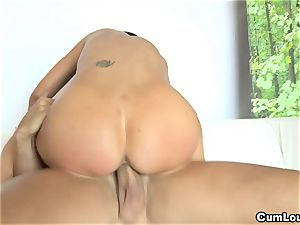 big-titted Jasmine Jae railing a hefty lollipop with her mammories out