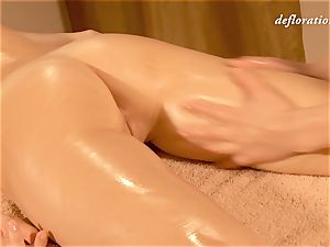 Elena being lube groped by another lady