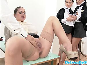 Rich college girls orgy with masculine instructor in class
