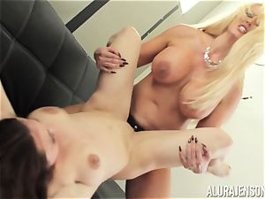 Alura Jenson coochie packed with belt cock strong bulky damsel Brandi May