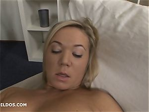 blonde whore frigs herself before plowing thick fake penises